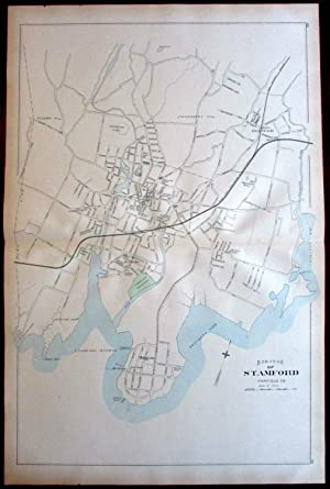 Stamford city plan downtown harbor cove areas Mill rvr 1893 Connecticut Hurd map