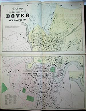 Dover New Hampshire city plan large detailed 1871 antique folio map 2 sheets