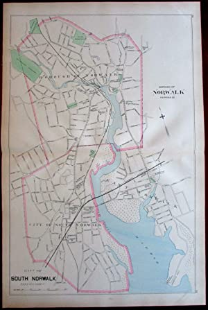 South Norwalk Fairfield County city plan harbor river 1893 Connecticut Hurd map
