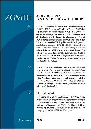 ZGMTH - Zeitschrift der Gesellschaft für Musiktheorie, 3. Jahrgang 2006: Holtmeier, Ludwig, ...