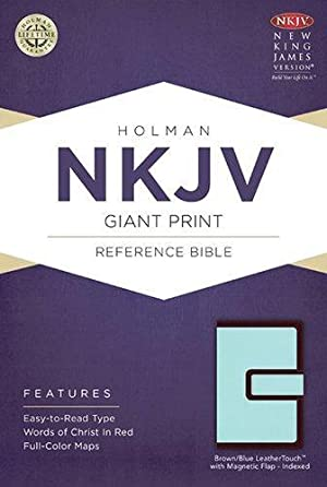 NKJV Giant Print Reference Bible, Brown/Blue LeatherTouch with Magnetic Flap Indexed