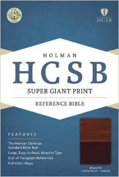 HCSB Super Giant Print Reference Bible, Brown/Tan LeatherTouch Indexed