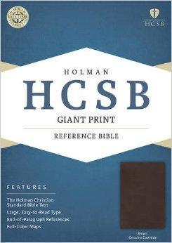 HCSB Giant Print Reference Bible, Brown Genuine Cowhide
