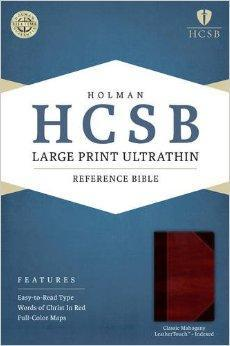 HCSB Large Print UltraThin Reference Bible, Classic Mahogany LeatherTouch Indexed