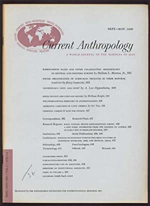 Current Anthropology. A World Journal of the