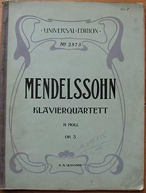 Felix Mendelssohn-Bartholdy. Klavierquartett N° 3, op. 3: Glossner, Gustav Ad.