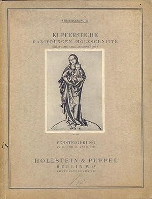 Kupferstiche Radierungen Holzschnitte des XV. bis XVIII.