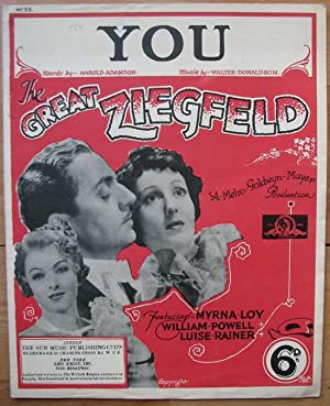 The Great Ziegfeld. You N° 33. A MGM Production. Notenpartitur.