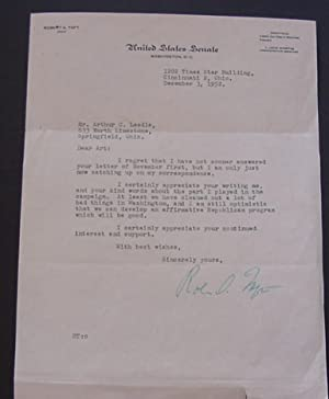 Letter from Robert A. Taft, to Arthur Leedle