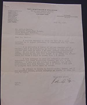 Letter from Robert A. Taft to Arthur Leedle