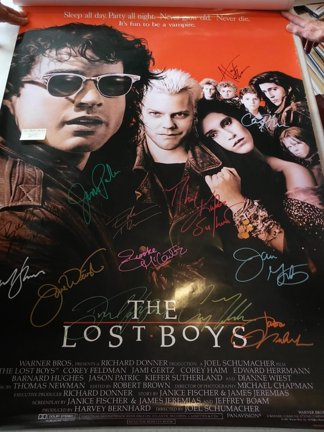 full size movie poster the lost boys signed by cast