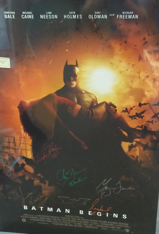 FULL SIZE MOVIE POSTER 'BATMAN BEGINS', *SIGNED* BY CAST (ORIGNAL POSTER), n/a