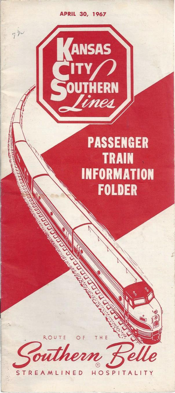 Kansas City Southern Lines Passenger Train Information Folder (April 30, 1967), Southern Belle