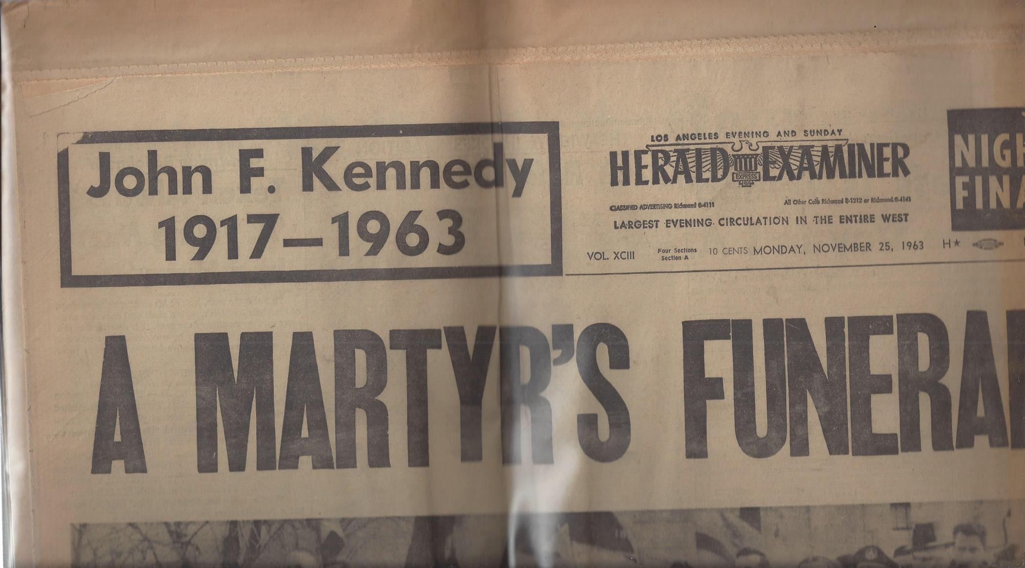 "Los Angeles Evening and Sunday Herald Examiner: ""A Martyr's Funeral"" (Monday, November 25, 1963), Herald Examiner"