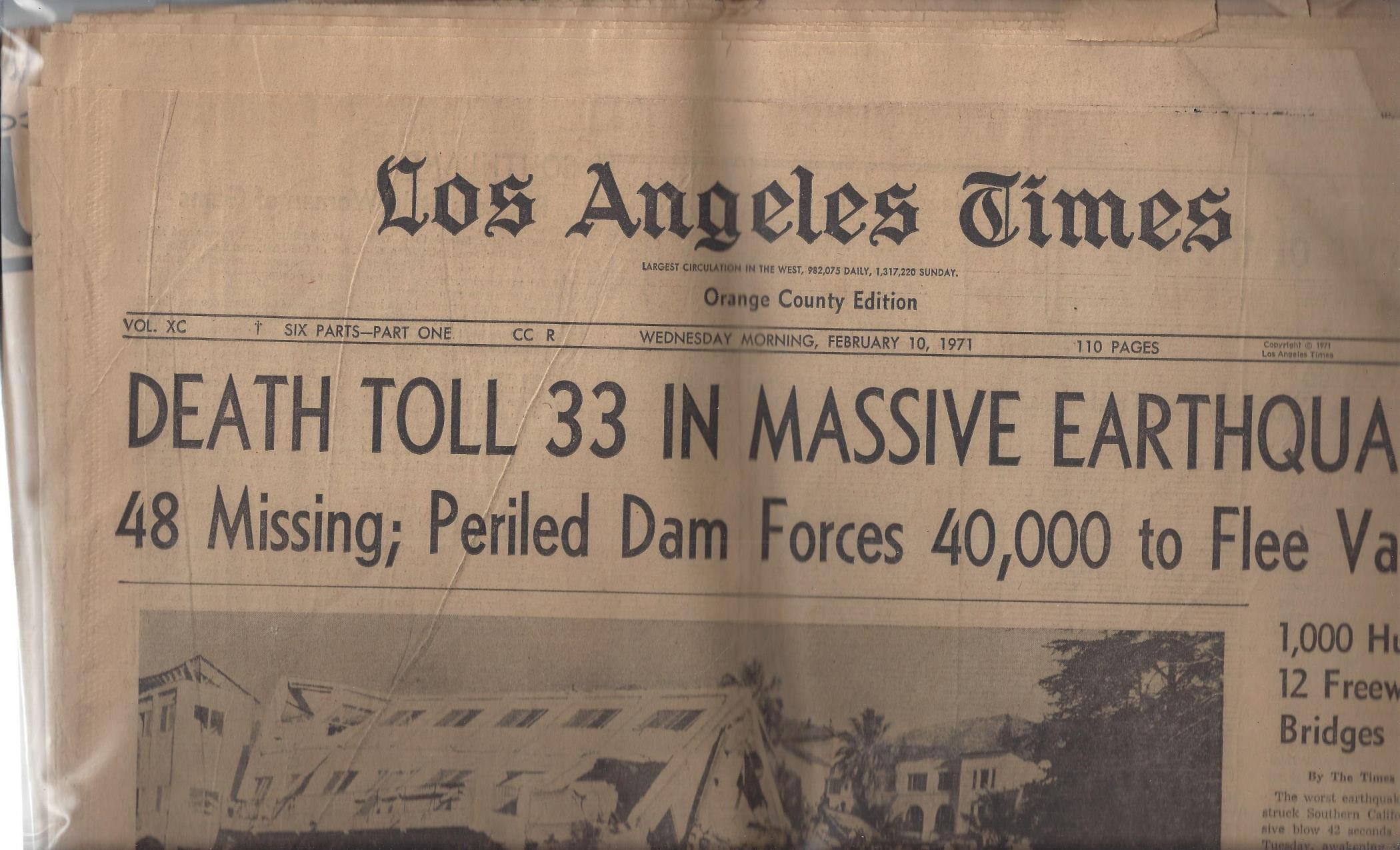 "Los Angeles Times, Orange County Edition: ""Death Toll 33 in Massive Earthquake"" (Wednesday Morning, February 10, 1971), Los Angeles Times"