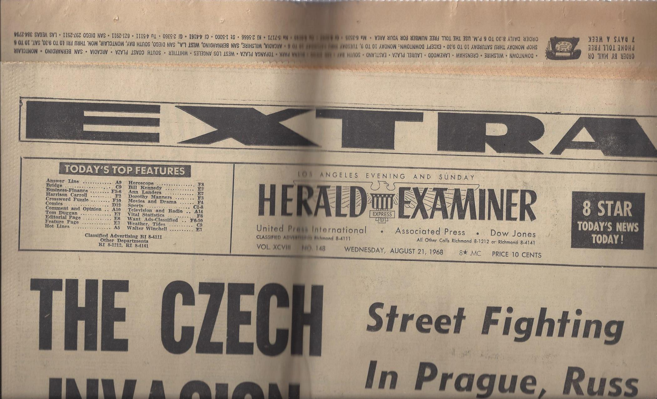 "Los Angeles Evening and Sunday Herald Examiner: ""The Czech Invasion"" (Wednesday, August 21, 1968), Herald Examiner"