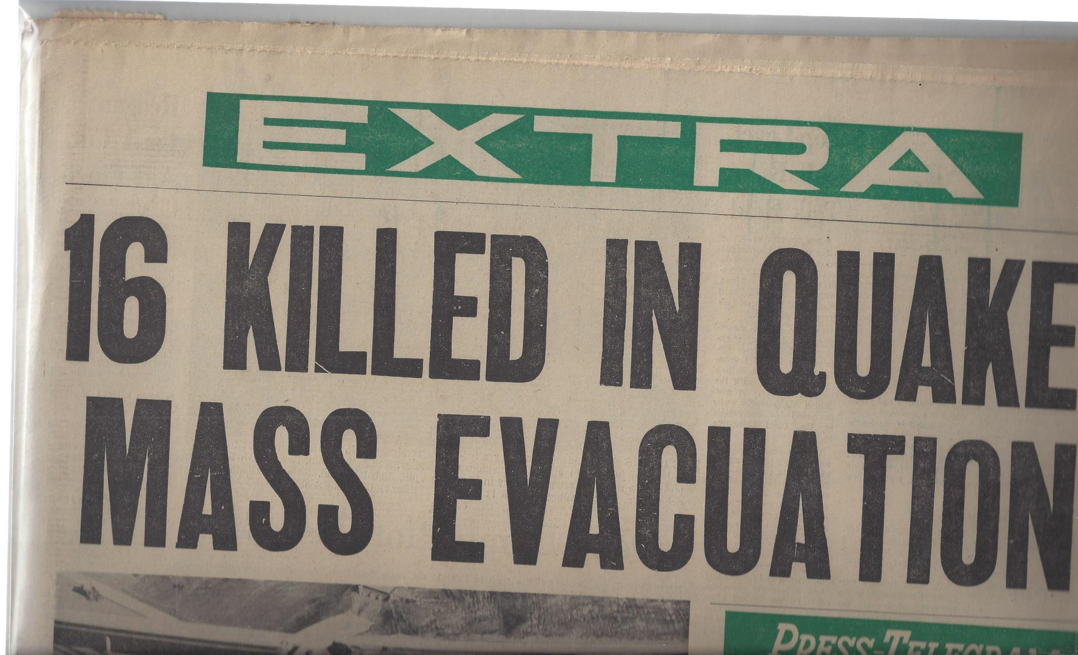 "Long Beach Press-Telegram Newspaper: ""16 Killed in Quake"" (Tuesday, Feb. 9, 1971), Long Beach Press-Telegram"