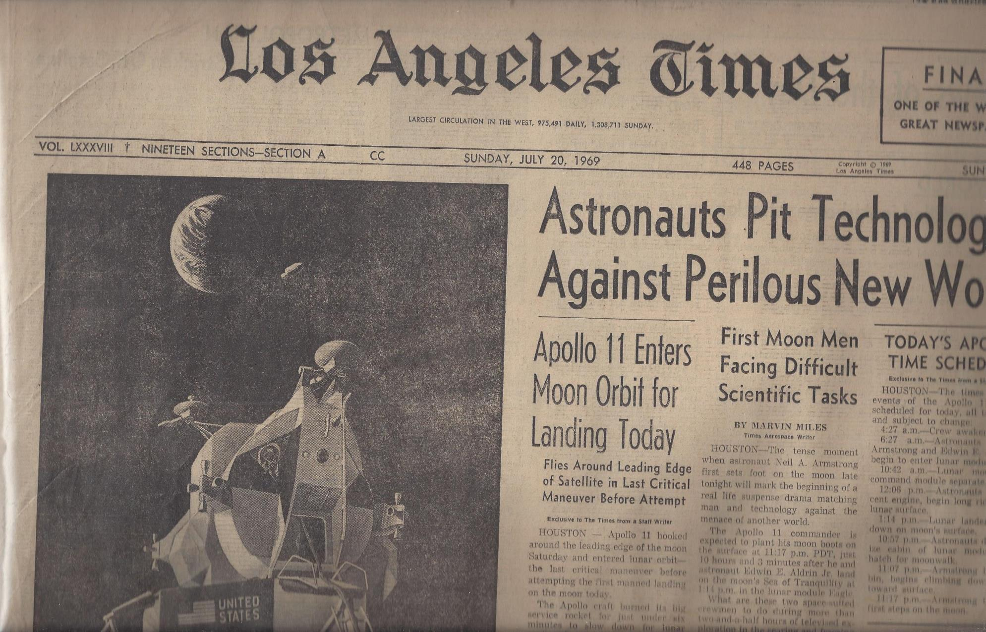 "Los Angeles Times: ""Astronauts Pit Technology Against Perilous New World"" (Sunday, July 20, 1969), Los Angeles Times"