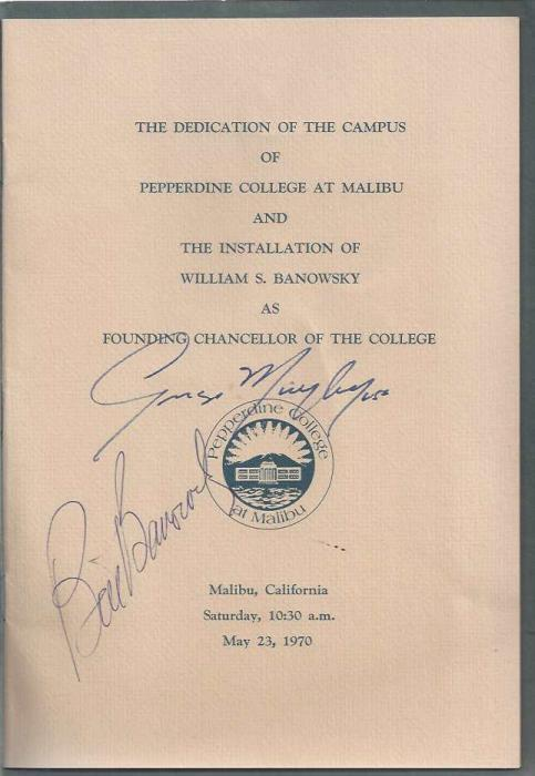 Pepperdine College at Malibu, Dedication of the Campus and Installation of the Chancellor: 23 May 1970 [2 copies]