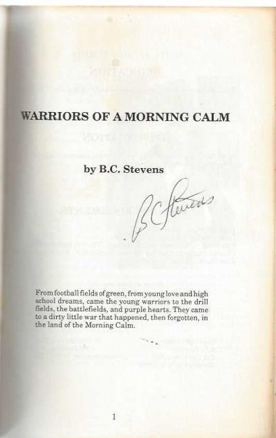 Warriors of a morning calm, Stevens, B. C