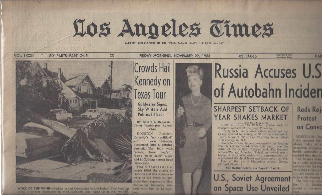 "Los Angeles Times: ""Crowds Hail Kennedy on Texas Tour"" (Friday Morning, November 22, 1963), Los Angeles Times"