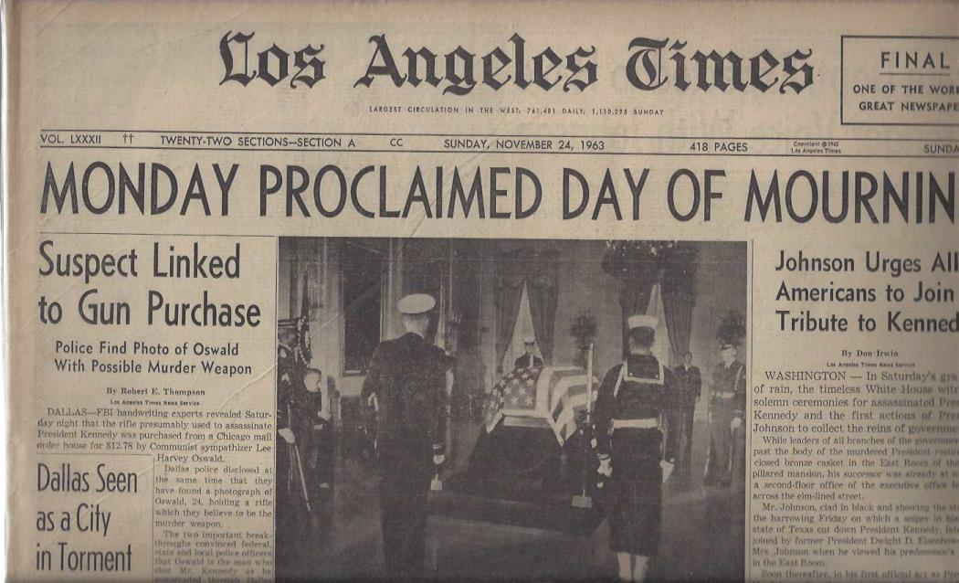 "Los Angeles Times: ""Monday Proclaimed Day of Mourning"" (Sunday, November 24, 1963), Los Angeles Times"