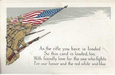 "Loyalty Series World War 1-era Postcard: ""As the rifle you have is loaded, so this card is loaded, too"", Loyalty Series"