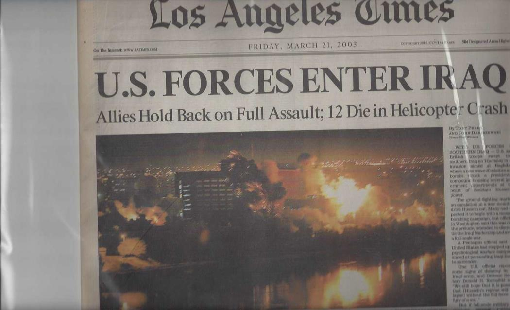 "Los Angeles Times: ""U.S. Forces Enter Iraq"" (Friday, March 21, 2003), Los Angeles Times"