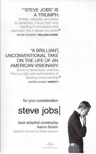 "For Your Consideration, ""Steve Jobs"" (Best Adapted Screenplay), Aaron Sorkin"