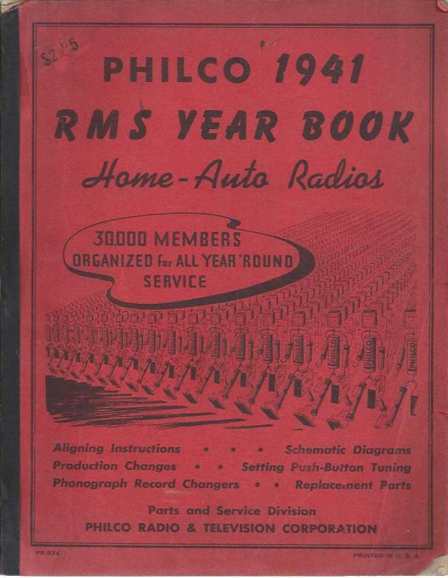 Philco 1941 RMS Year Book Home Auto Radios, Unknown