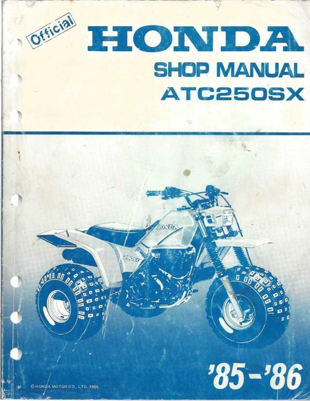 official honda shop manual ATC250SX shop manual 1985-86, honda