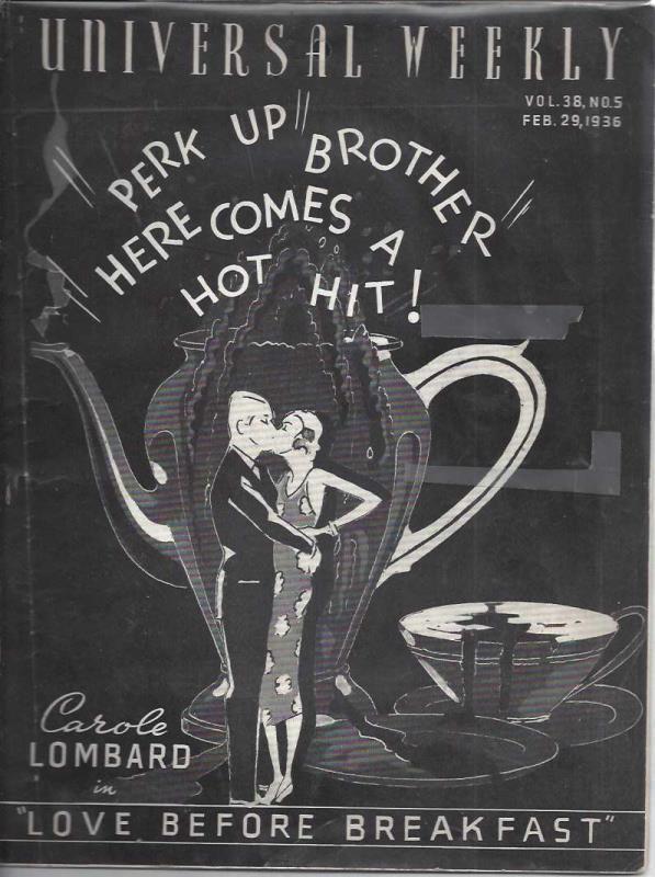 Universal weekly magazine: vol.38, no.5: 1936 Feb. 29. Carole Lombard, Jewell, Aurelia M.