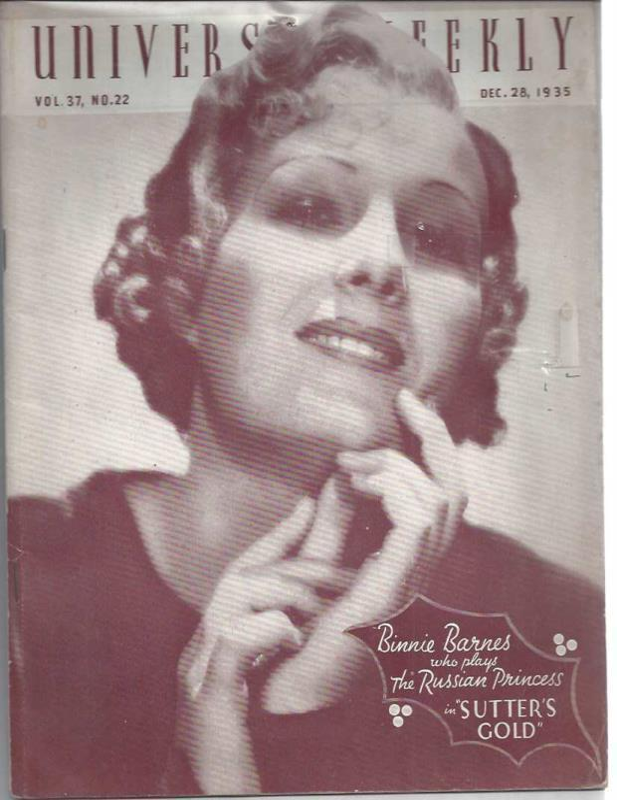 Universal weekly magazine: vol.37, no.22: 1935 Dec. 28. Binnie Barnes, Jewell, Aurelia M.