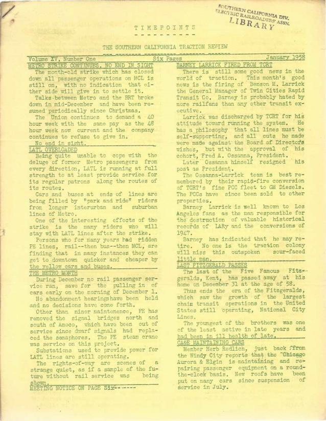 Timepoints: The Southern California Traction Review, Set of 11: Full Year 1958 (Missing February), Various authors