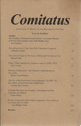 Comitatus: A Journal of Medieval and Renaissance Studies (Volume 43,2012), N/A; Antonio Zaldivar [Editor]