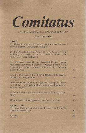 Comitatus: A Journal of Medieval and Renaissance Studies (Volume 37,2006), N/A; Thomas O'Donnell [Editor]