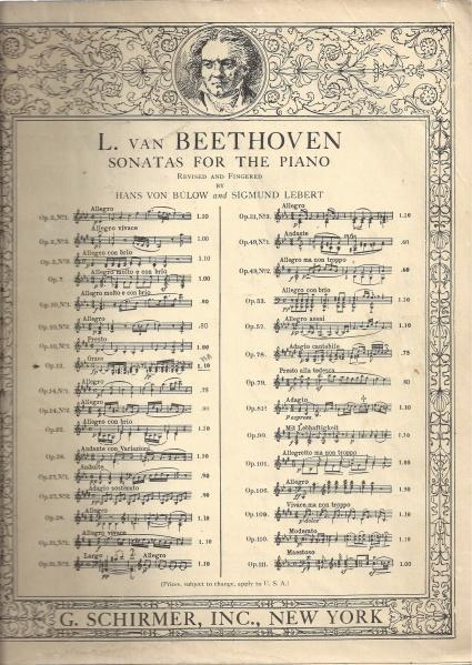 L.VAN BEETHOVEN SONATAS FOR THE PIANOFORTE REVISED AND FINGERED BY DR.HANS VON BULOW AND DR.SIGMUND LEBERT OP.2 No.3 1923, L.VAN BEETHOVEN; DR.HANS VON BULOW; DR. SIGMUND LEBERT