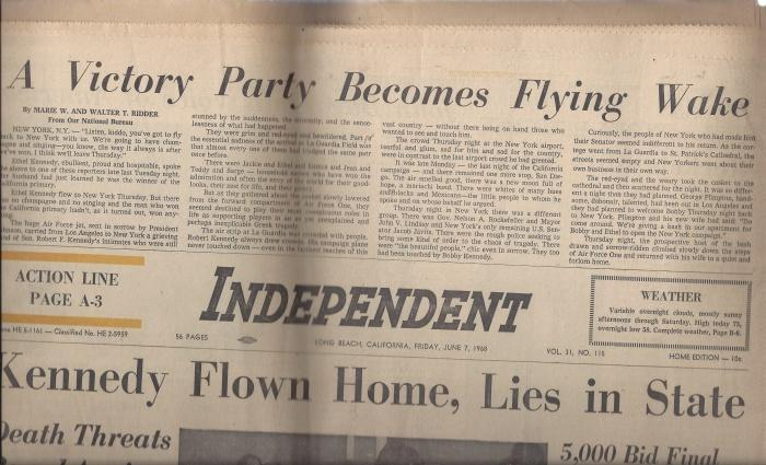 Independent Newspaper Friday, June 7, 1968: Kennedy Flown Home, Lies in State, N/A