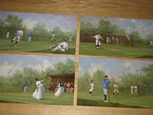 A SET OF FOUR OIL PAINTINGS OF TENNIS