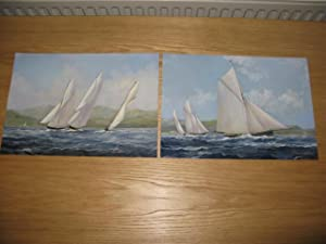 A PAIR OF OIL PAINTINGS OF SAILING YACHTS RACING.