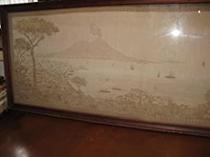 A LARGE ORIGINAL PANORAMA OF NAPLES - NAPOLI in NEEDLEWORK OR TAPESTRY.