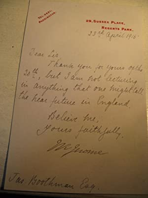 AN ORIGINAL LETTER SIGNED BY JEROME K. JEROME