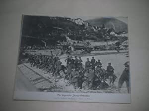 Die siegreiche Isonzo-Offensive. Deutsche Radfahrer-Abteilung am Isonzo vor Tolmein.: Pressefoto/ ...