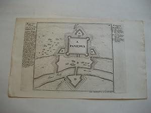 Accurater Plan von dem Schloss Panzova an dem Temesfluss gegen Belgrad über gelegen .: Panzova