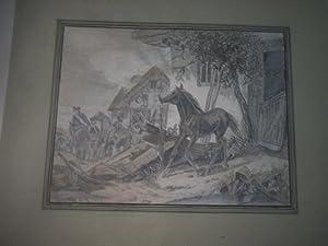 Deutsch-französischer Krieg 1870/71. Bleistiftzeichnung, Plünderung, Mitnahme eines ...