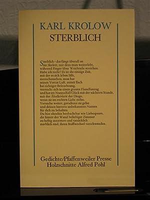 Sterblich. Gedichte.: Krolow, Karl