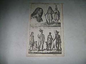 Physiognomie der Bewohner von Nordwest-Amerika. Mann und Frau von der Insel Nootka. Nipissongs. ...