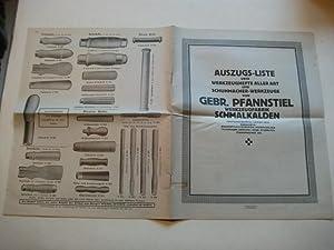 Auszugs-Liste über Werkzeughefte aller Art und Schumacher-Werkzeuge.: Katalog.