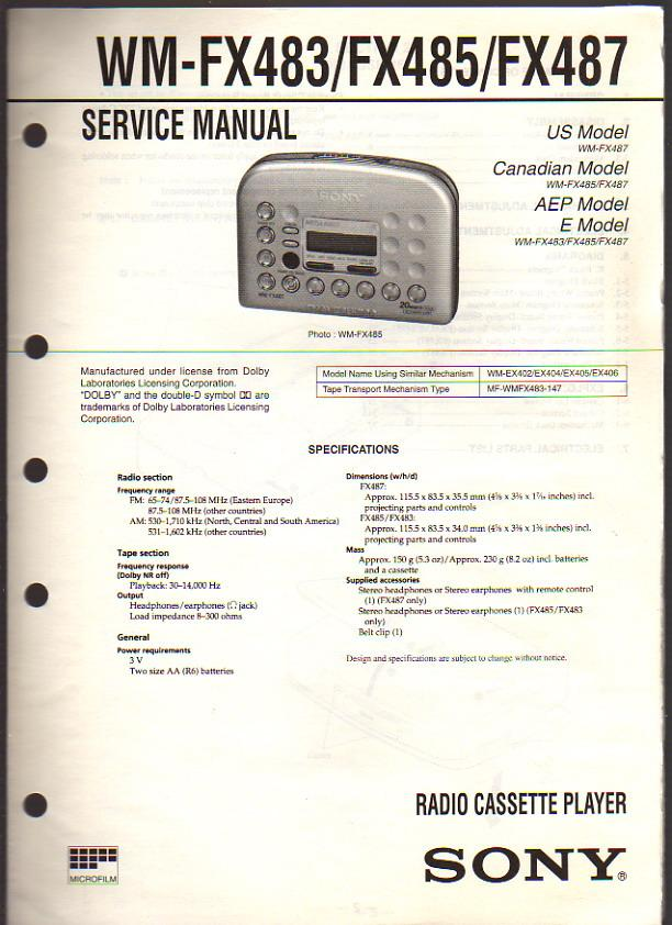sony radio cassette player walkman wm fx483 fx485 fx487 service rh abebooks co uk