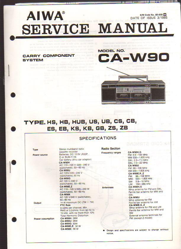 aiwa carry component system ca w90 boombox service manual by aiwa rh abebooks co uk Aiwa Stereo System CD Player Aiwa Stereo System CD Player